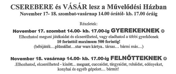 Értesítés Egerfarmos lakói részére: Cserebere és vásár
